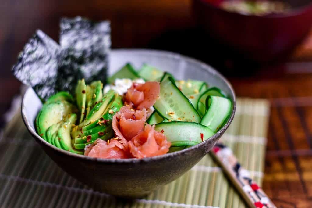 smoked salmon donburi