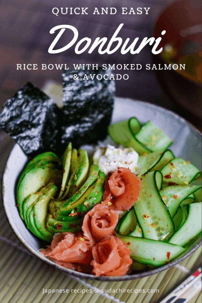 smoked salmon avocado donburi