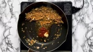 adding chinese chilli paste and minced garlic to the pan