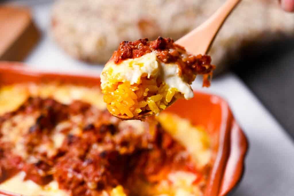Saizeriya Style Meat Doria Close Up on a spoon