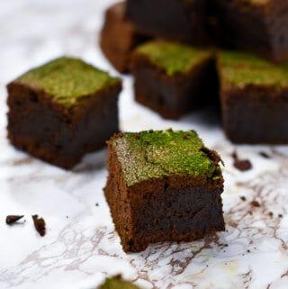 dark chocolate and matcha brownies