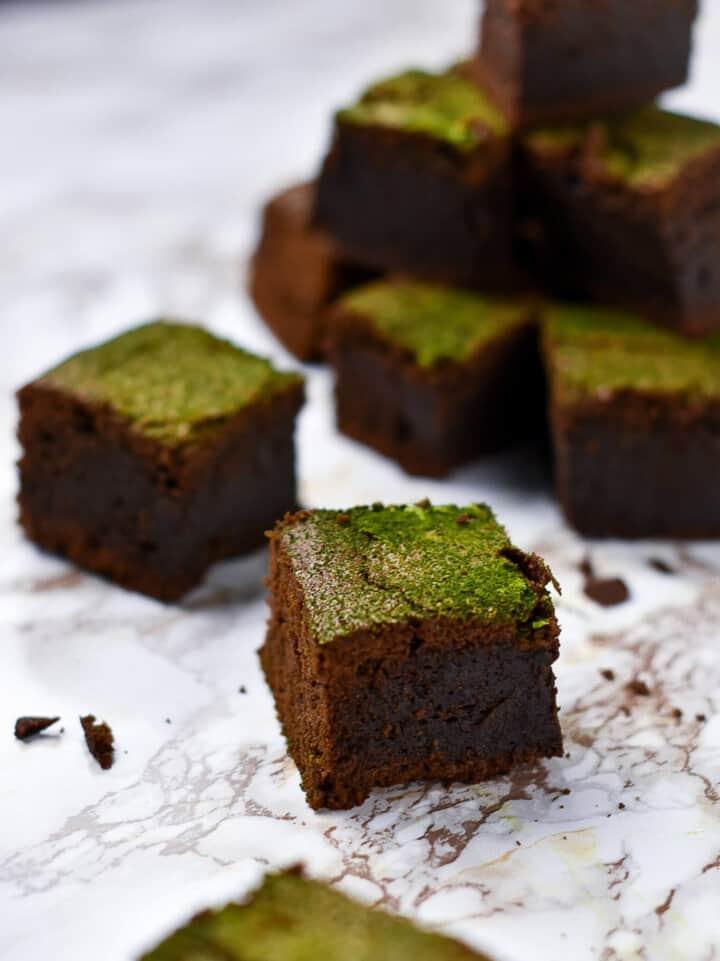dark chocolate and matcha brownies