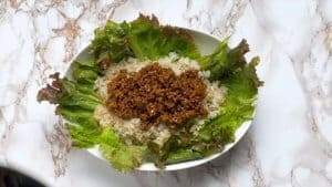 Japanese taco rice cooked mince