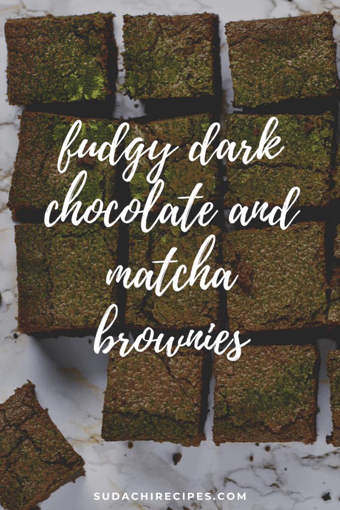 Fudgy dark chocolate and matcha brownies