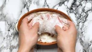 coat the pork chop with flour