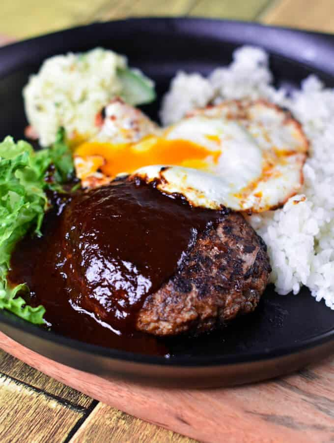 Japanese Hamburg Steak with egg, rice and salad