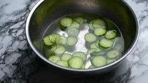 Soaking cucumbers in water