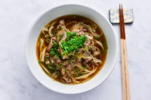 Beef Udon overhead view