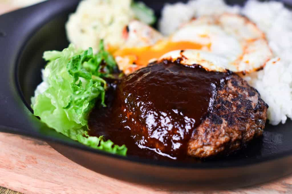 Japanese Hamburg Steak with egg, rice and salad