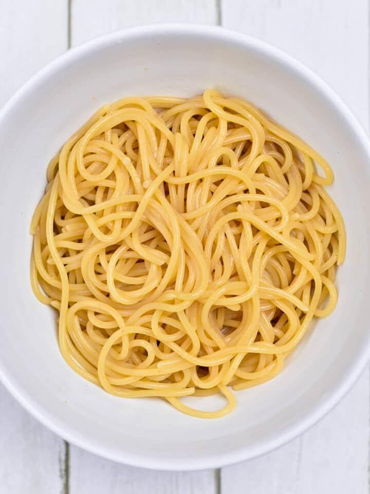 Bowl of noodles overhead shot