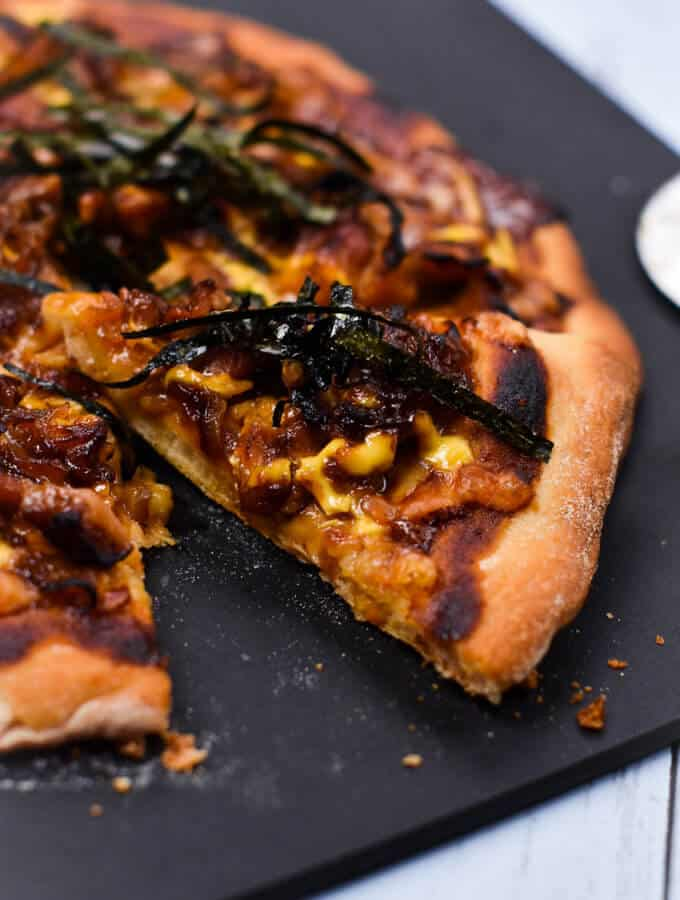 Teriyaki Chicken and onion pizza with nori