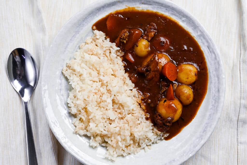 Top view curry rice