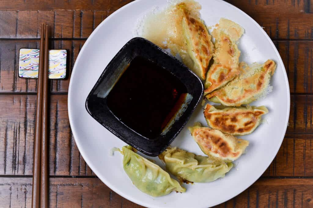 Tofu Gyoza and Dipping Sauce from above