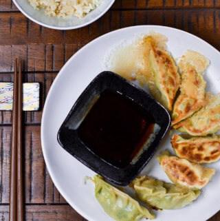 Top View Vegetarian Gyoza and Dipping Sauce