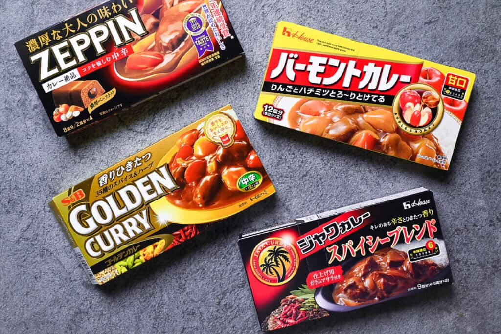 Japanese curry roux boxes