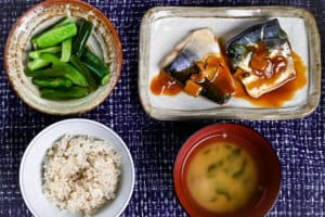 Japanese Miso Mackerel teishoku set