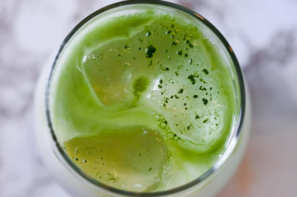 iced matcha latte top view