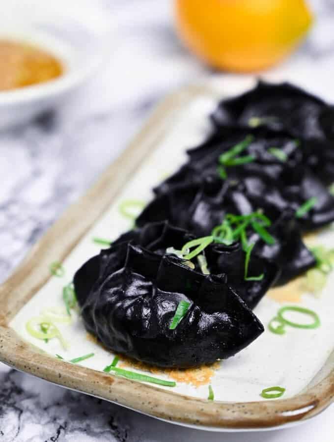 squid ink black gyoza