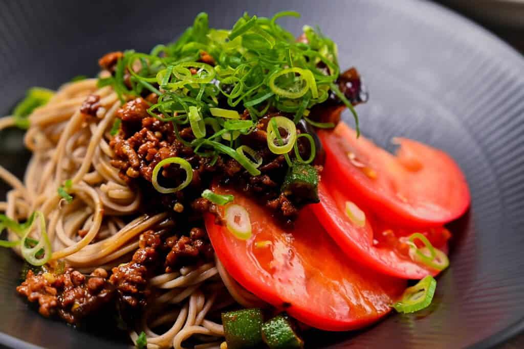 Summer vegetable soba noodles close up