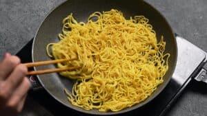 fry yakisoba noodles until slightly crisp