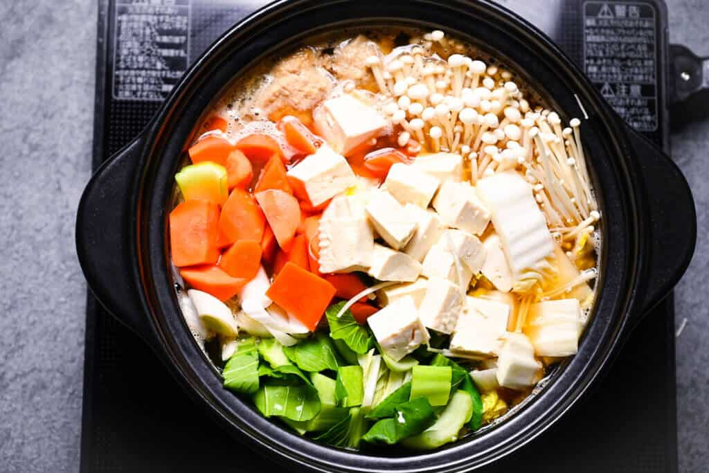 Chanko nabe boiling in a pot top down