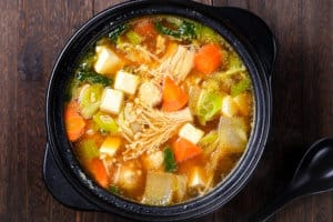 Chanko nabe in a pot top down