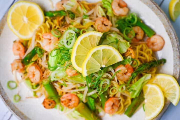 Shio Lemon yakisoba with shrimp and asparagus top down close up