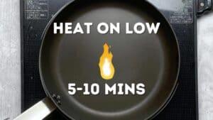Making dorayaki: heating the pan