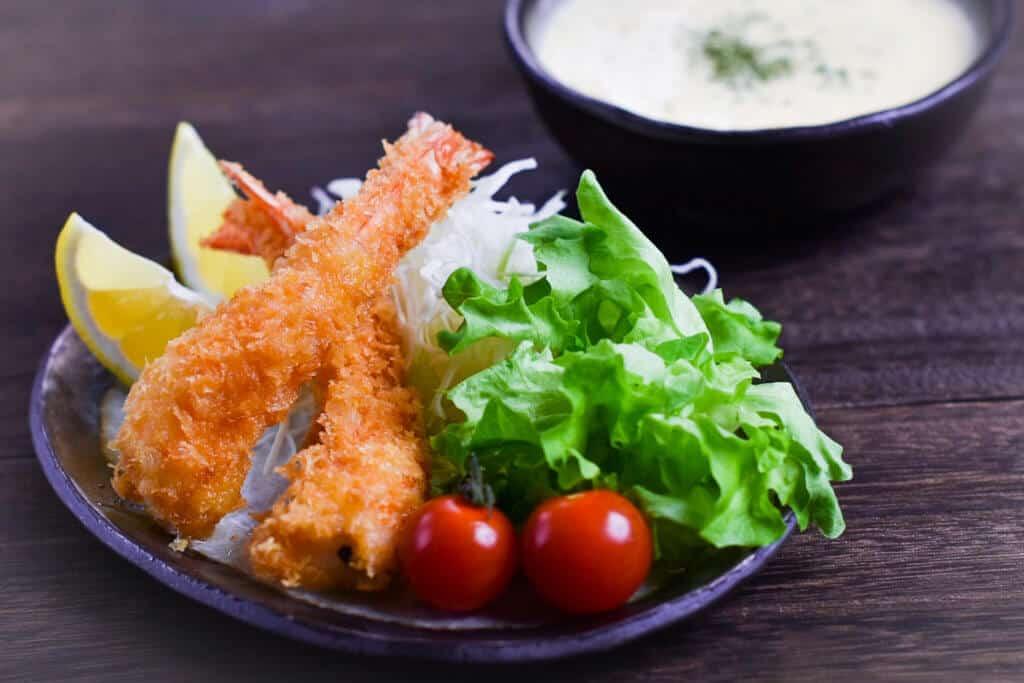 Ebi Fry with Salad and Tartar Sauce