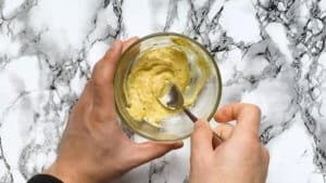 Mix ingredients together for Japanese mustard mayo