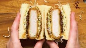 cut the miso katsu sando in half