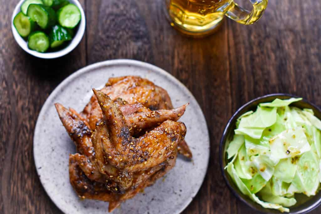 nagoya chicken wings and side dishes