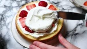add cream over the strawberries