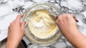 gently mix in the flour