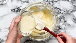 pour the butter mixture into the batter