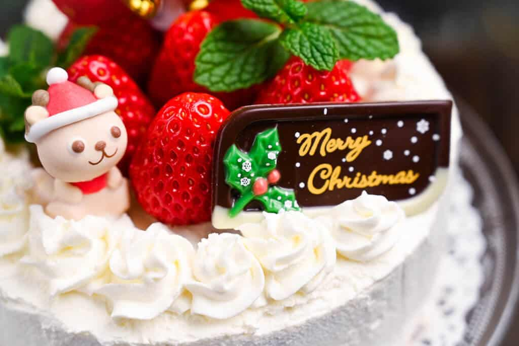 Japanese Christmas cake close up