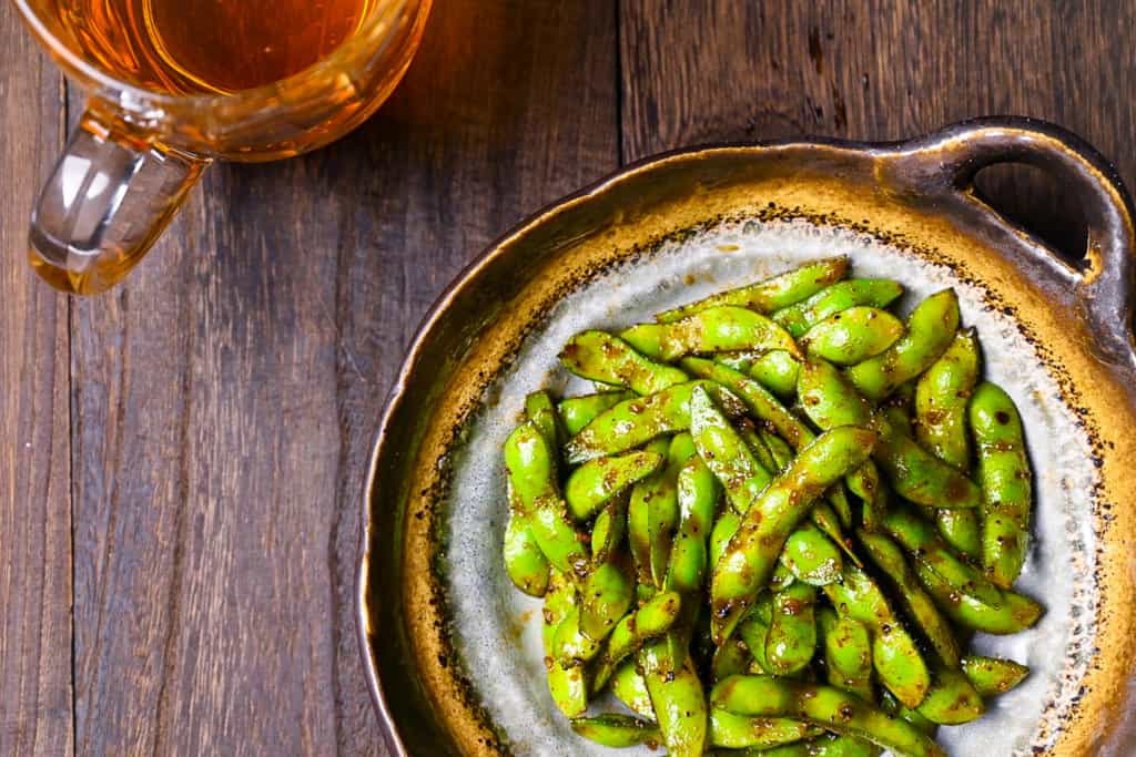 edamame top down with beer