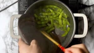 add the edamame to boiling water