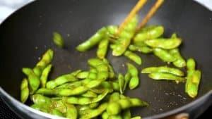 stir fry edamame for 3 mins