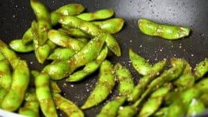 sprinkle edamame with black pepper