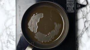 heat the sesame oil in a pan