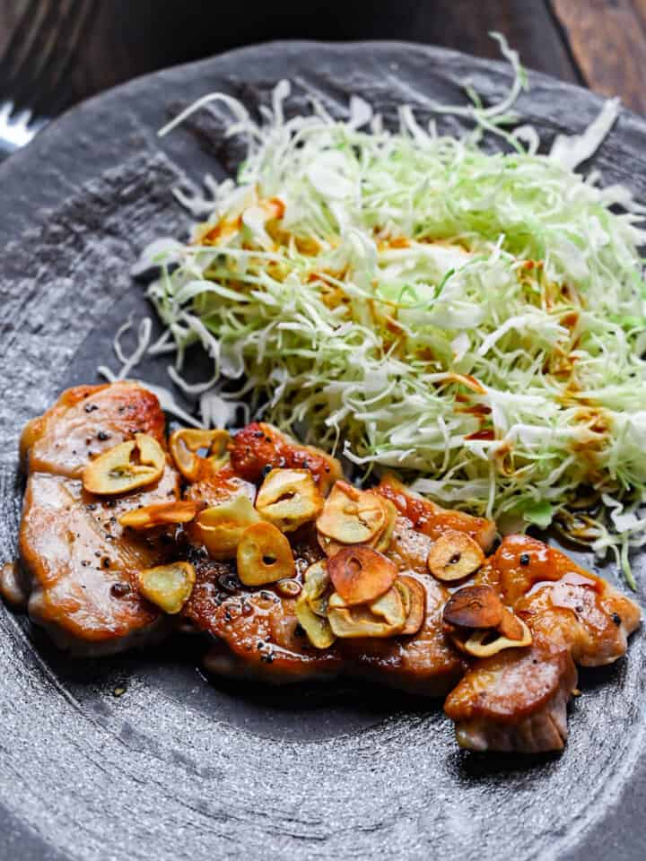 Tonteki Pork Steak with Shredded Cabbage
