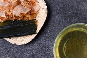 awase dashi and ingredients top down view