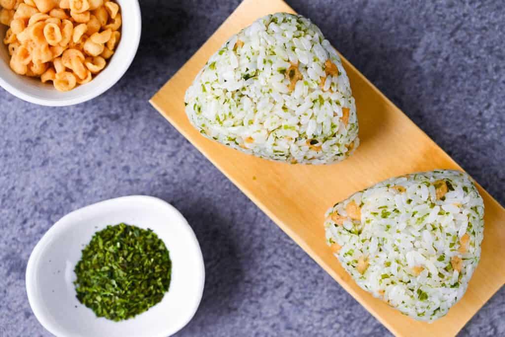 two devil's onigiri rice balls with tenkasu and aonori