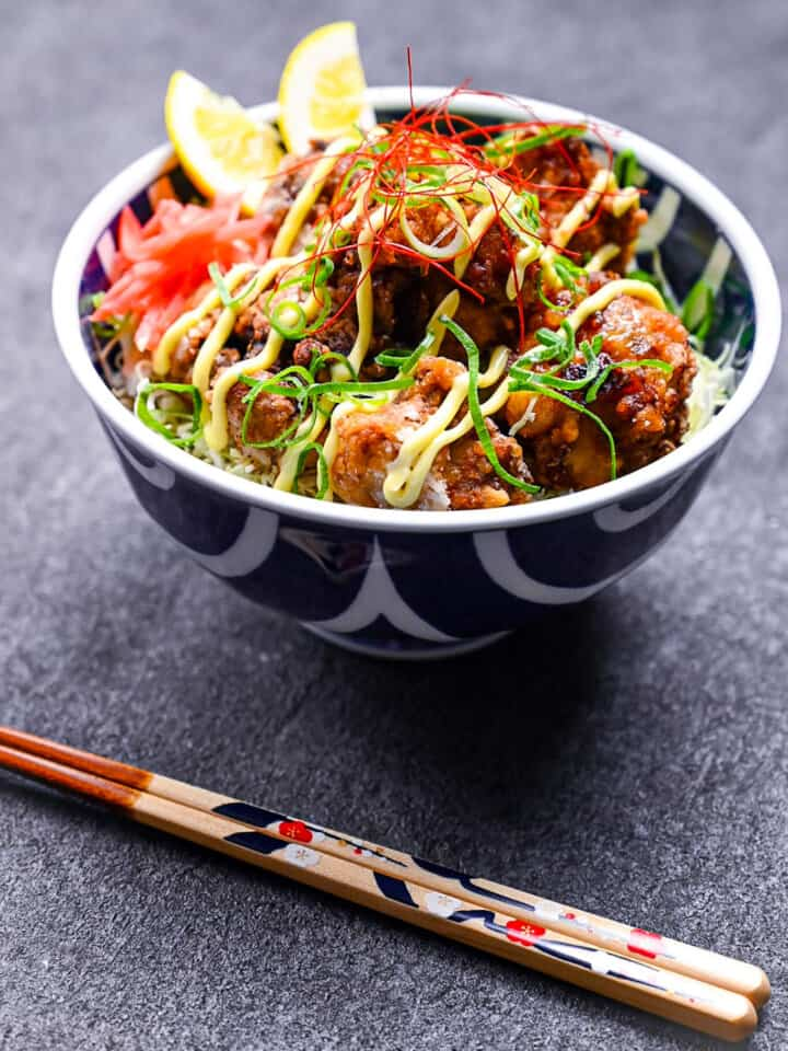 karaage donburi with chopsticks