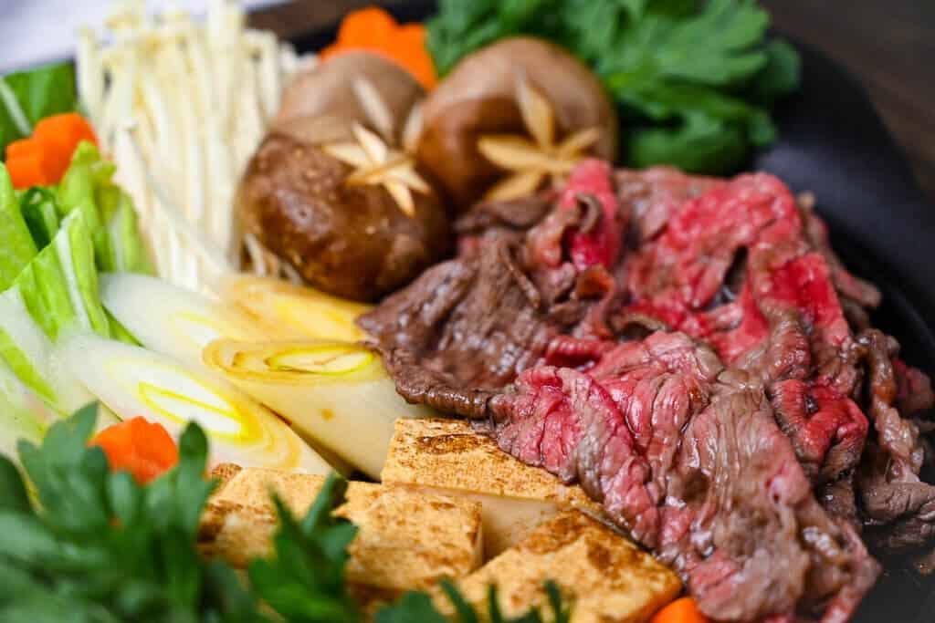 Sukiyaki beef close up