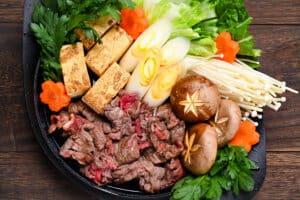 Sukiyaki beef hot pot top down view