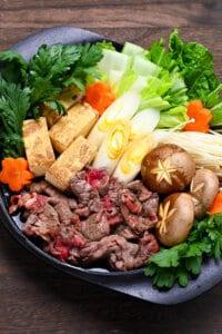 Sukiyaki Beef Hot Pot with vegetables and tofu