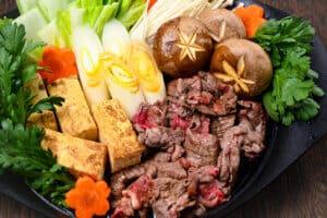 Sukiyaki Beef Hot Pot Close Up