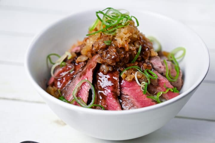 Chaliapin steak served in a white bowl